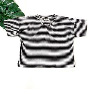 Madewell black & white stripe cropped top, size L